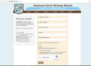 NaNoWriMo Sign Up